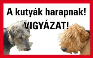 A kutya harap! Vigyázat! (egyéni felirattal